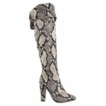Madam37 Faux Fur Lining Foldable Knee High Block High Heel Boot, Snakeskin