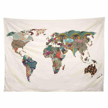 Art World Map, Tapestry  Printed (No Frame)