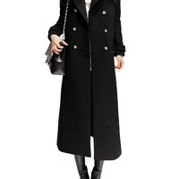 Button and Pocket Design Longline Woolen Trench Coat