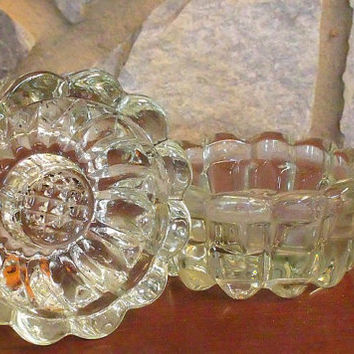 Crystal Candle Holders // 2 Leaded Crystal Glass Candle Holders // 1960's Vintage Interior Design