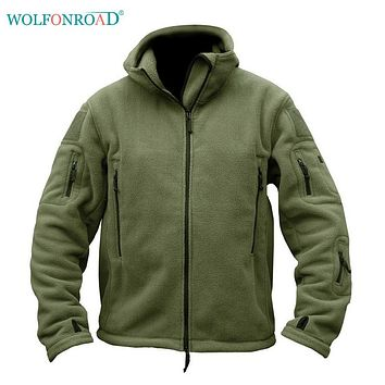 WOLFONROAD Men Tactical Hood Fleece Jacket Outdoor Sports Thermal Jacket Hunting Clothes Hiking Climbing Jacket Military Coat