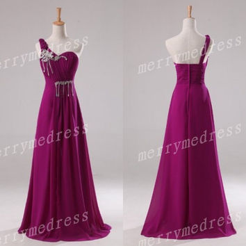 2014 Beading Crystals Strapless One-Shoulder A-line Long Celebrity Dress,Floor Length Chiffon Evening Party Prom Dress New Homecoming Dress