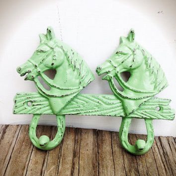 Mint Green Shabby Chic Horse Double Wall Hook - Country Cottage Rustic