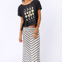 Lucy Love Cape Cod Cream and Grey Striped Maxi Skirt