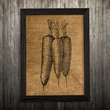 Kitchen print Carrot art Burlap poster Food print BLP787