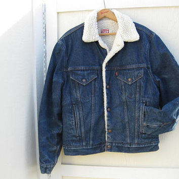 Levis Denim Trucker Jacket Vtg 70s 80s Sherpa faux Shearling USA 42 R