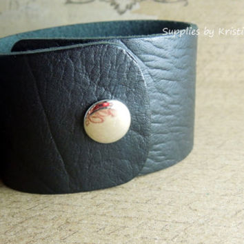 Leather Cuff Bracelet Blank - Black Textured Adjustable Wristband - 1.25 Inch Wide - Real Leather - Hand Stamping Jewelry Supplies
