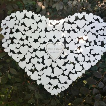 Customs Personalised Heart Shaped wedding guestbook alternative hanging heart Wedding guest book hearts wedding Decorations