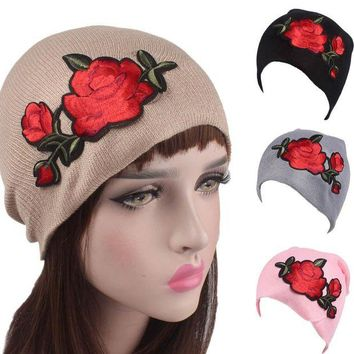 CUPUP9G Roses Embroidery  Knitting Wool Hat Women's Beanies Fashion Cancer Chemo Hat Beanie Head Wrap Cap Skullie female cap