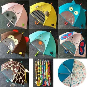DCCKFS2 7 Colors children kids 3D cartoon umbrella long handle sun protection Children's gift