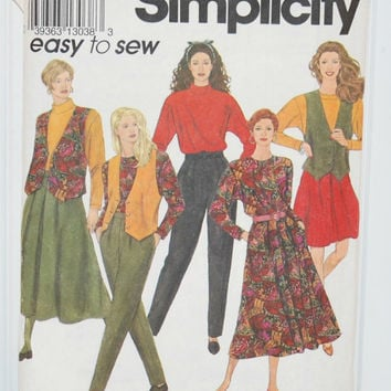 Simplicity 8016, Easy To Sew (c. 1992) Misses' Sizes 18-24, Skirt, Pants, Top and Lined Vest, Office Wear, Plus Size Clothes, Comfortable