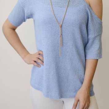 One Cold Shoulder Top - Blue