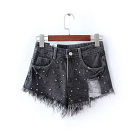 Denim Beading Rivet Ripped Zipper Tassel Shorts