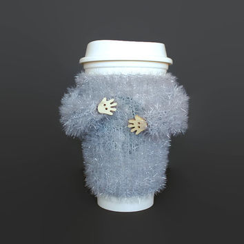 Scrubby coffee cozy. Travel mug sleeve. Tea cozy. Coffee warmer. Gfit for her. Mug sweater. Mug hug cozy. Coworker gift. Funny mug cozy.