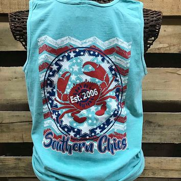Southern Chics Stars Stripes Crab USA American Flag Comfort Colors Girlie Bright T Shirt Tank Top