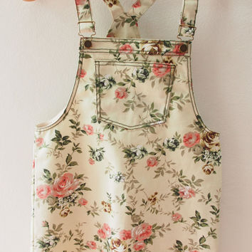 Skirtall, Floral Skirtall, Light Khaki with Pink Rose Overall, Apron Overall skirtall, Vintage Inspired, XS-XL