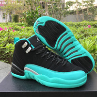 "Air Jordan 12 GS ""Hyper Jade"" AJ 12 Women Basketball Shoes"
