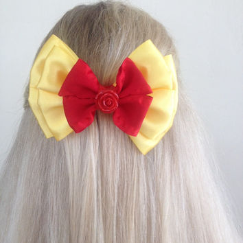Belle Ballroom Dress Yellow and Red Bow with Rose, Tale As Old As Time by Design Bowtique