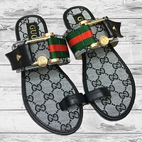 GUCCI Fashion New Red Green Stripe More Letter Print Slippers Flip Flop Shoes Women Gray
