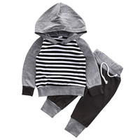 2016  Infant Kids Baby Boy Girl Clothes Striped Hooded T-shirt Top+Pants Outfit Set clothing baby set