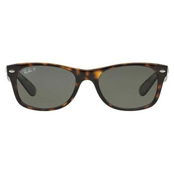 UCANUJ3V Ray Ban New Wayfarer Sunglass Tortoise Crystal Green Polarized RB 2132 902/58
