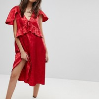 Reclaimed Vintage Inspired Midi Dress With Cape Detail at asos.com