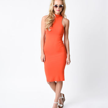1960s Style Coral Sleeveless High Neck Knit Wiggle Dress