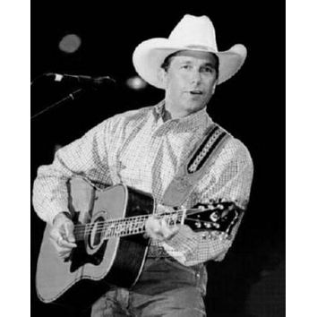 George Strait poster Metal Sign Wall Art 8in x 12in Black and White