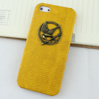 hunger games mockingjay And Yellow Hard Skins Leather Case Cover for Apple iPhone5 Case, iPhone 5 Cover