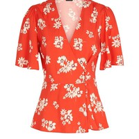 Red Floral Button Front Wrap Top   New Look