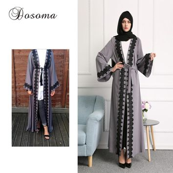 Muslim Women Lace Abaya Dress Robe Musulmane Ramadan Maxi Gown Arab Caftan Dubai Instant Hijab Vestido Islamic Prayer Costume