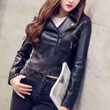 VONEB7T Fashion Womens Faux Leather Fully Lined Long Sleeve Biker Jacket G-A-GHSY-1