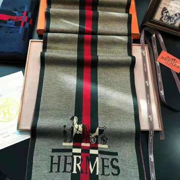 Hermes 2018 winter new men's high-end versatile fashion shawl scarf