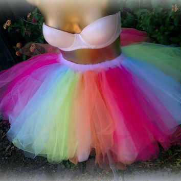 Adult tutu, Adult tulle skirt, EDC, raver rave outfit, gogo dancer, sweet 16 tutu, multi color tutu
