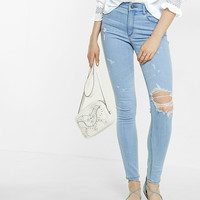 High Waisted Destroyed Ankle Jean Legging