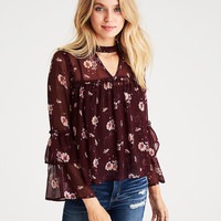 AEO Keyhole Tiered Top, Burgundy