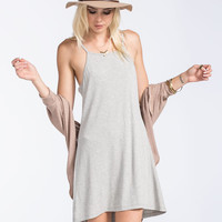 Full Tilt Ribbed Hi Low Dress Heather Grey  In Sizes
