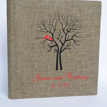 Wedding rustic old style photo album or scrapbook burlap Linen Bridal shower anniversary Red birds and names and black tree