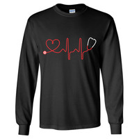 Stethoscope And Heart - Long Sleeve T-Shirt