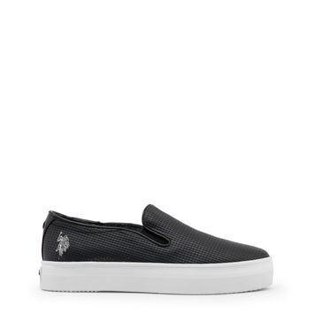 Us Polo Black Slipon Leather Sneakers