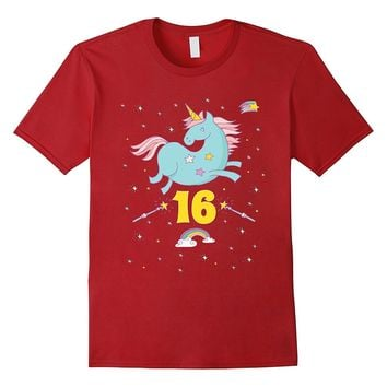Unicorn Rainbow Birthday Shirt Sweet 16 Always Magical 16th