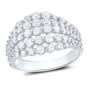 Sterling Silver 5 Row Simulated Diamond Statement Ring