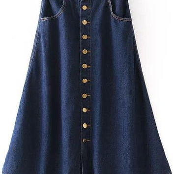 Navy Buttons Denim A-Line Pleated Midi Skirt