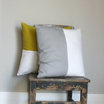 Gray & White color block pillow cover, white cushion cover, industrial decor, two tone pillow cover, lumber pillow