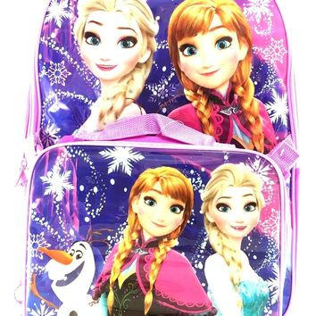 "Disney Frozen Princess Elsa & Anna Purple 16"" Backpack with Lunch Bag Set"