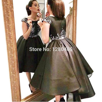 2017 Satin Black Cocktail Dress with Ivory Appliques Short Front Long Back Hi Low Prom Dress Robe de Cocktail Homecoming Dress