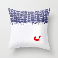 Alone in the forest Throw Pillow by Robert Farkas
