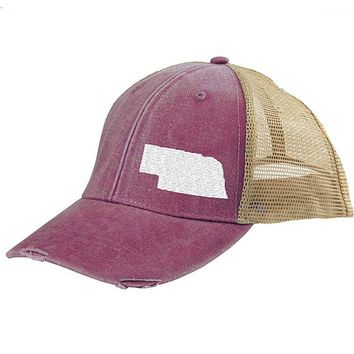 Nebraska Hat - Distressed Snapback Trucker Hat - off-center state pride hat - Pick your colors