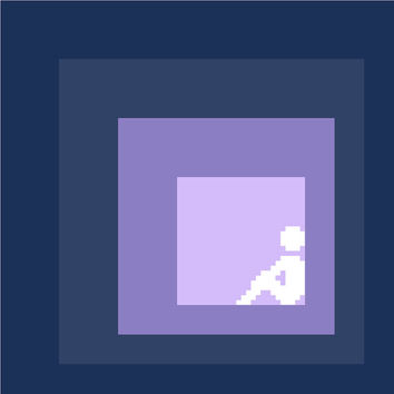 A little time to myself. Modern cross stitch pattern with a small human figure in negative silhouette. Contemporary cross stitch design.