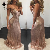 2017 Newest Party Dresses Women Sexy Backless Sequin Maxi Long Dress High Waist Elegant Lady Fashion New Year Vestidos